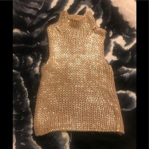 Painted gold sleeveless sweater top